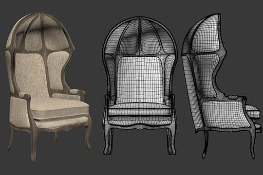 3d Modeling Versailles Burlap-Backed Chair