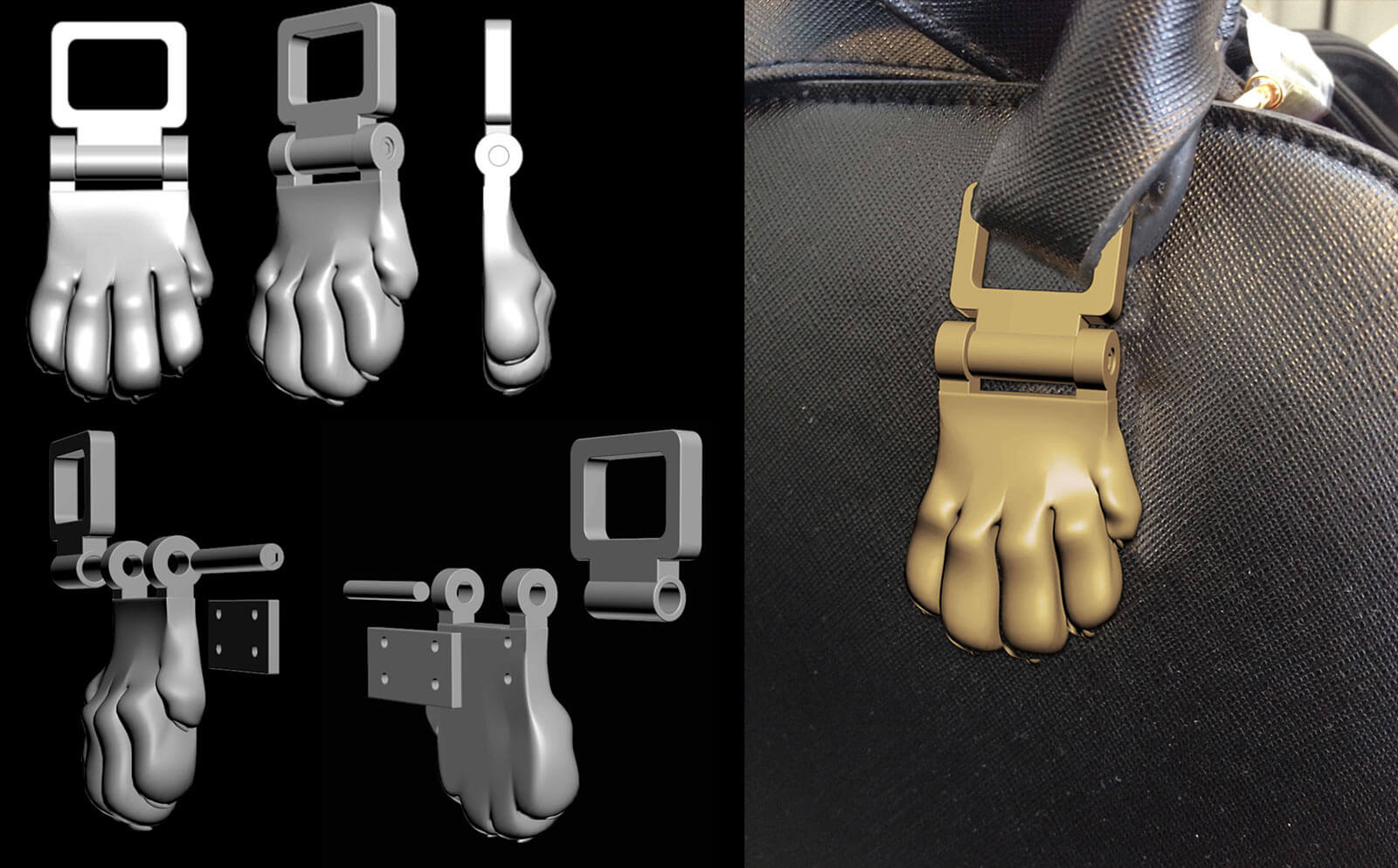 3D  model of lion paw for the hand bag, 3d printing, London, UK.