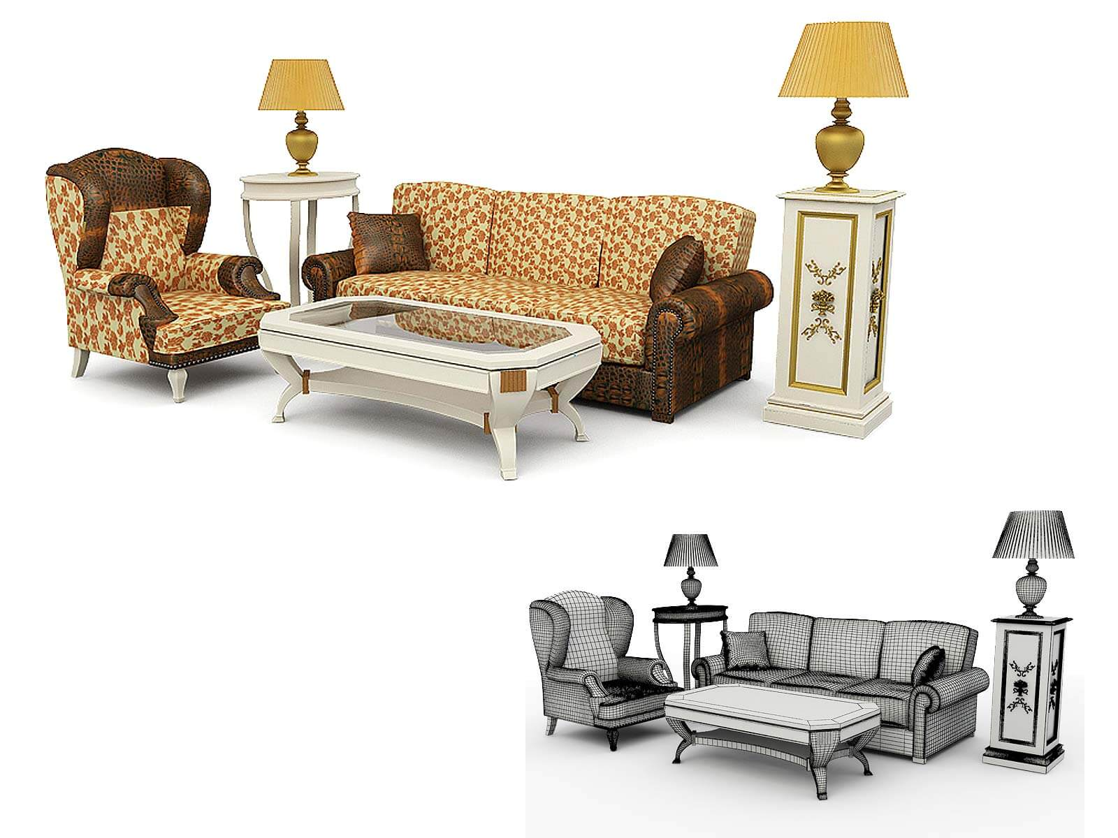 3D modeling of classic furniture, 3d visualization, London, UK.