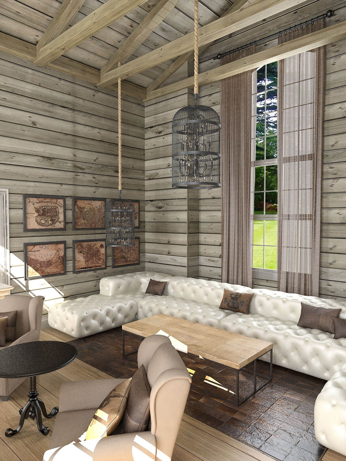 3D  visualisation of the front room in a style of log cabin, London, UK.