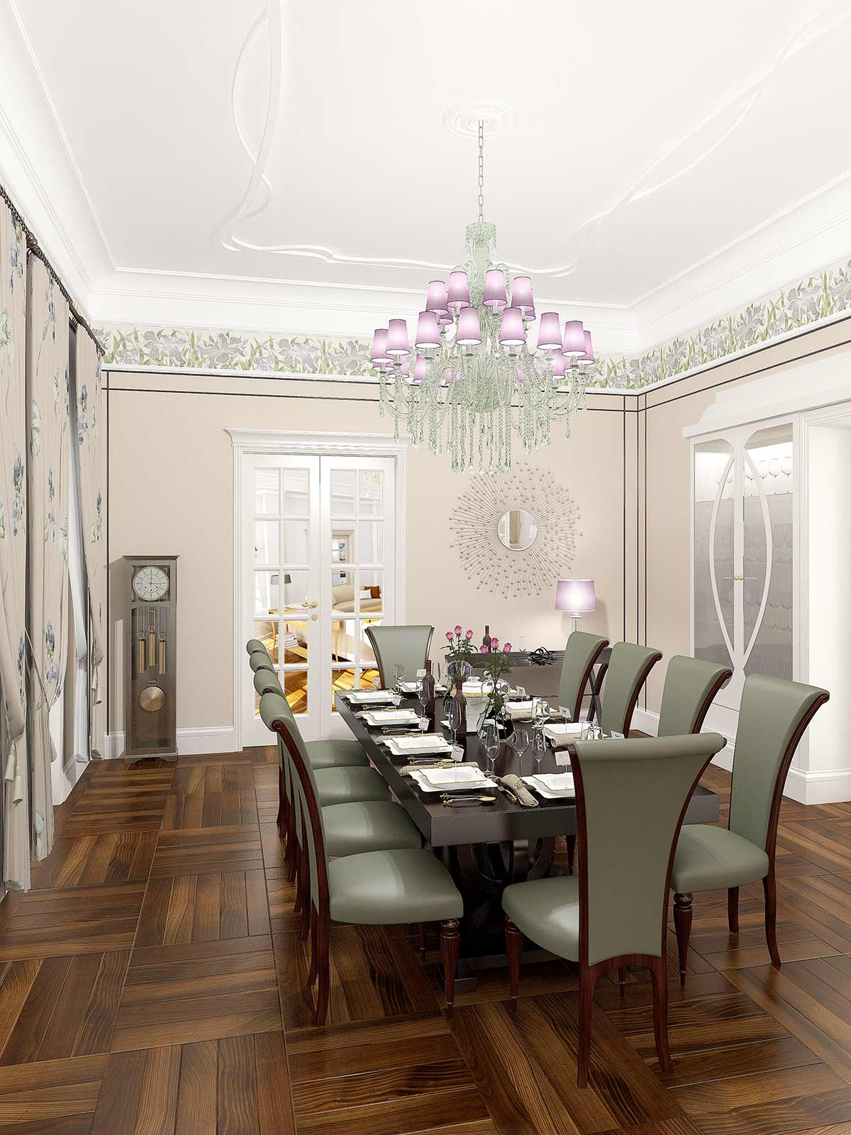 3D Visualisation dinning room, 3D modeling, Art Deco interior London, UK.