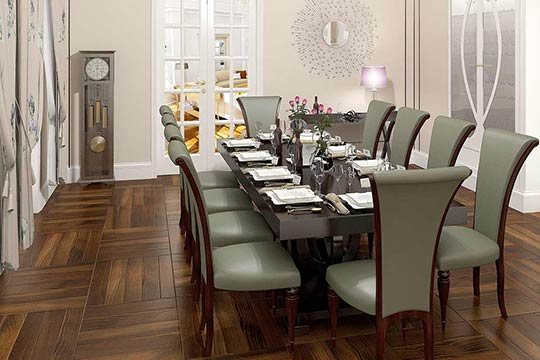 3D Visualisation dinning room, 3D modeling, Art Deco interior London, UK.
