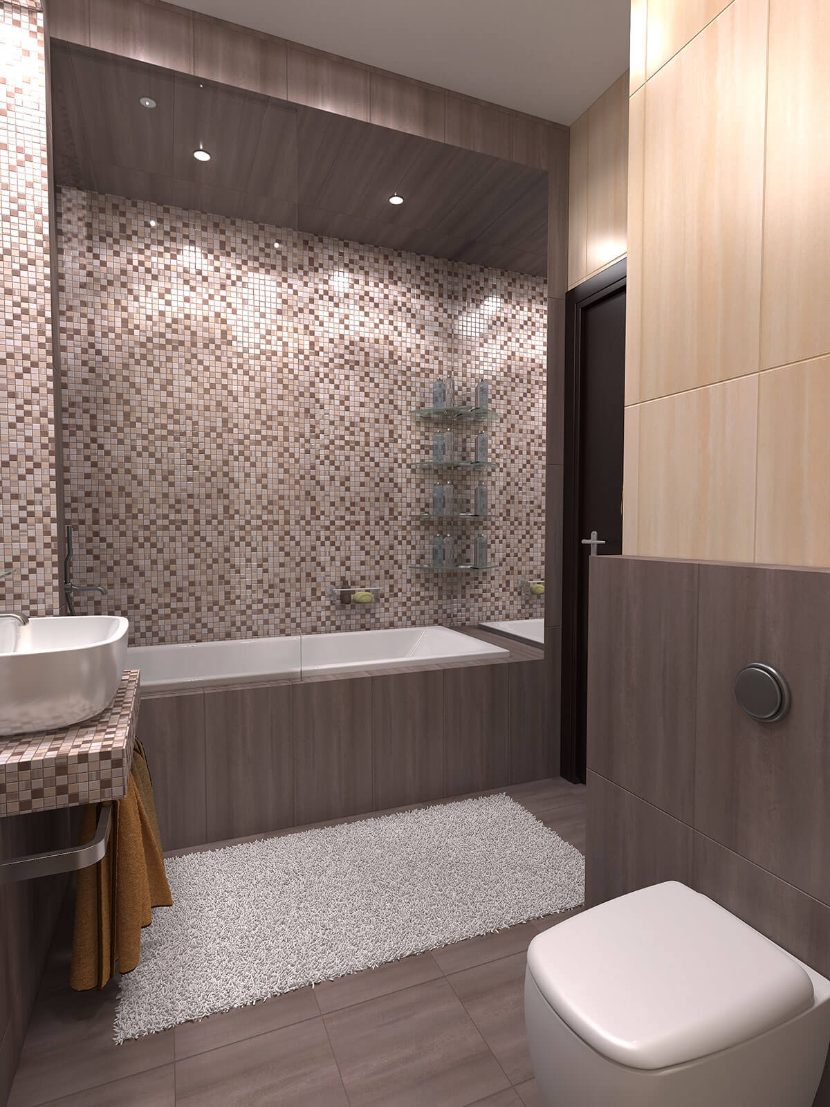 3D interior design, 3D visualization of the bathroom, 3D modeling, London, UK.