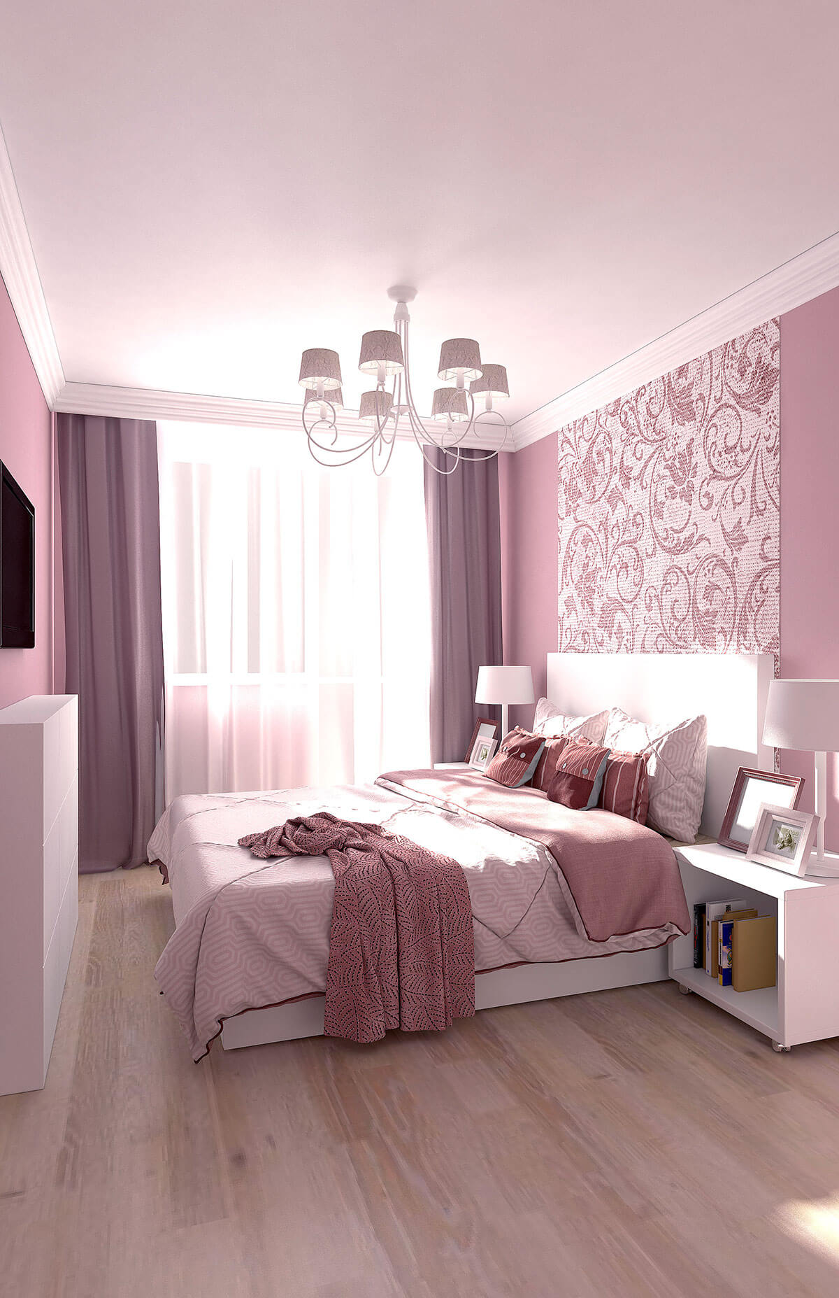 3D interior design, 3D visualization of the bedroom, 3D modeling, London, UK.