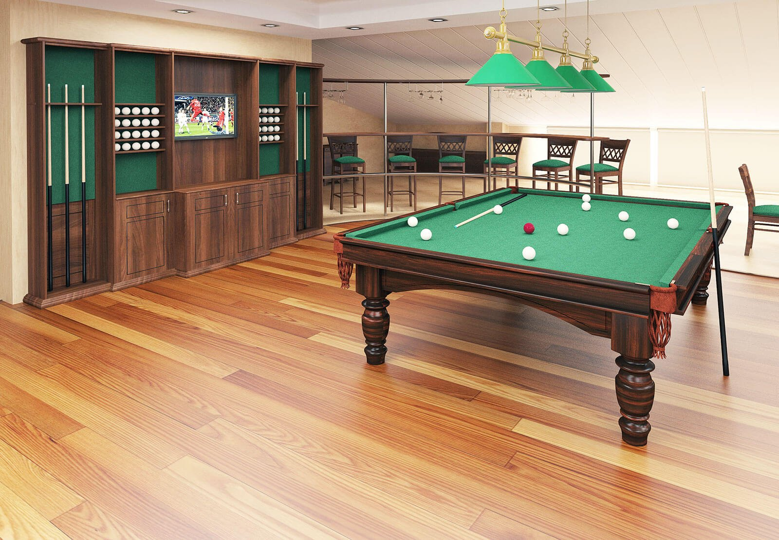 3D commercial visualisation of billiard room, 3d modeling, London, UK