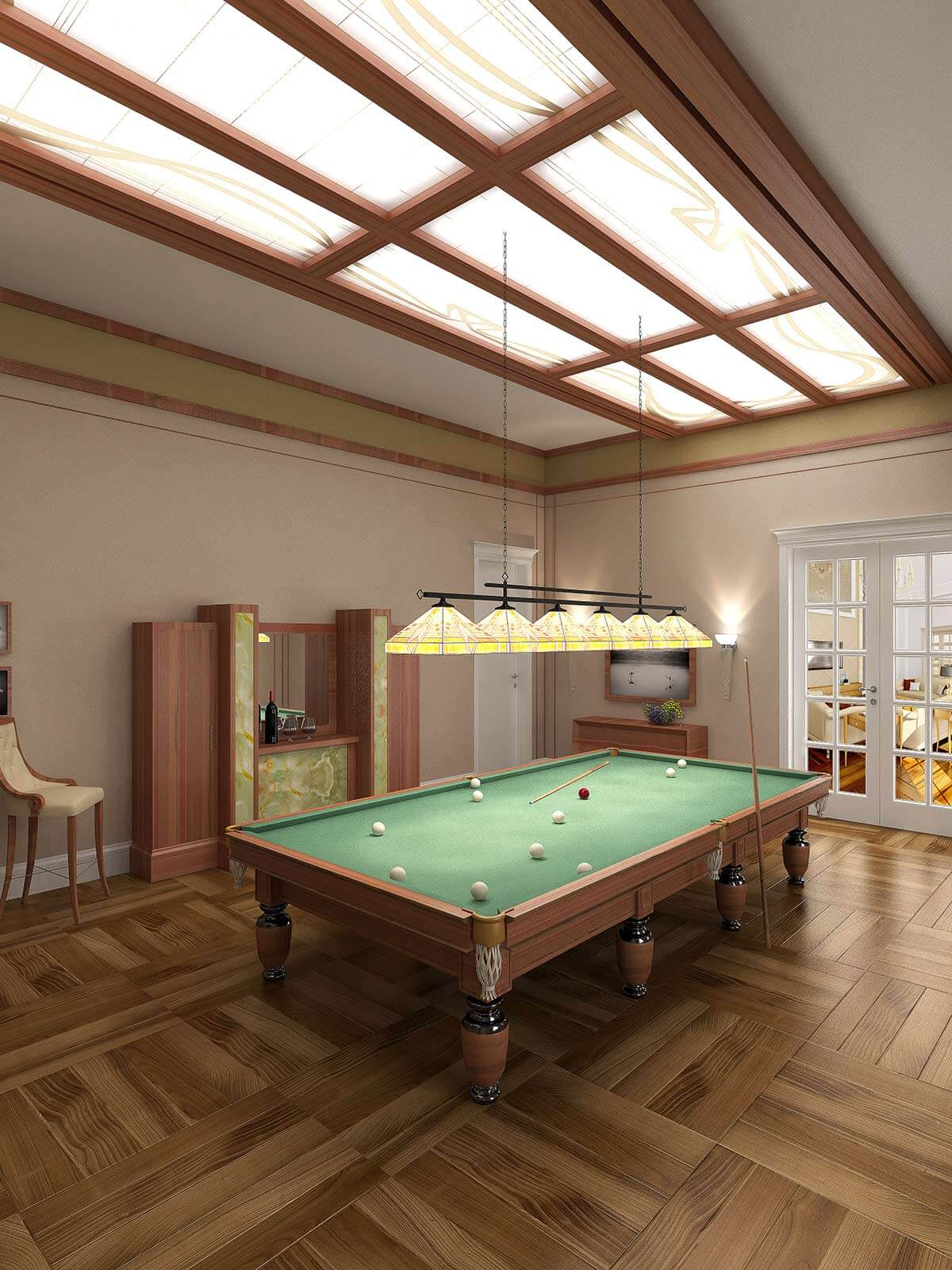 3D residential visualisation of billiard room, 3d modeling, London, UK