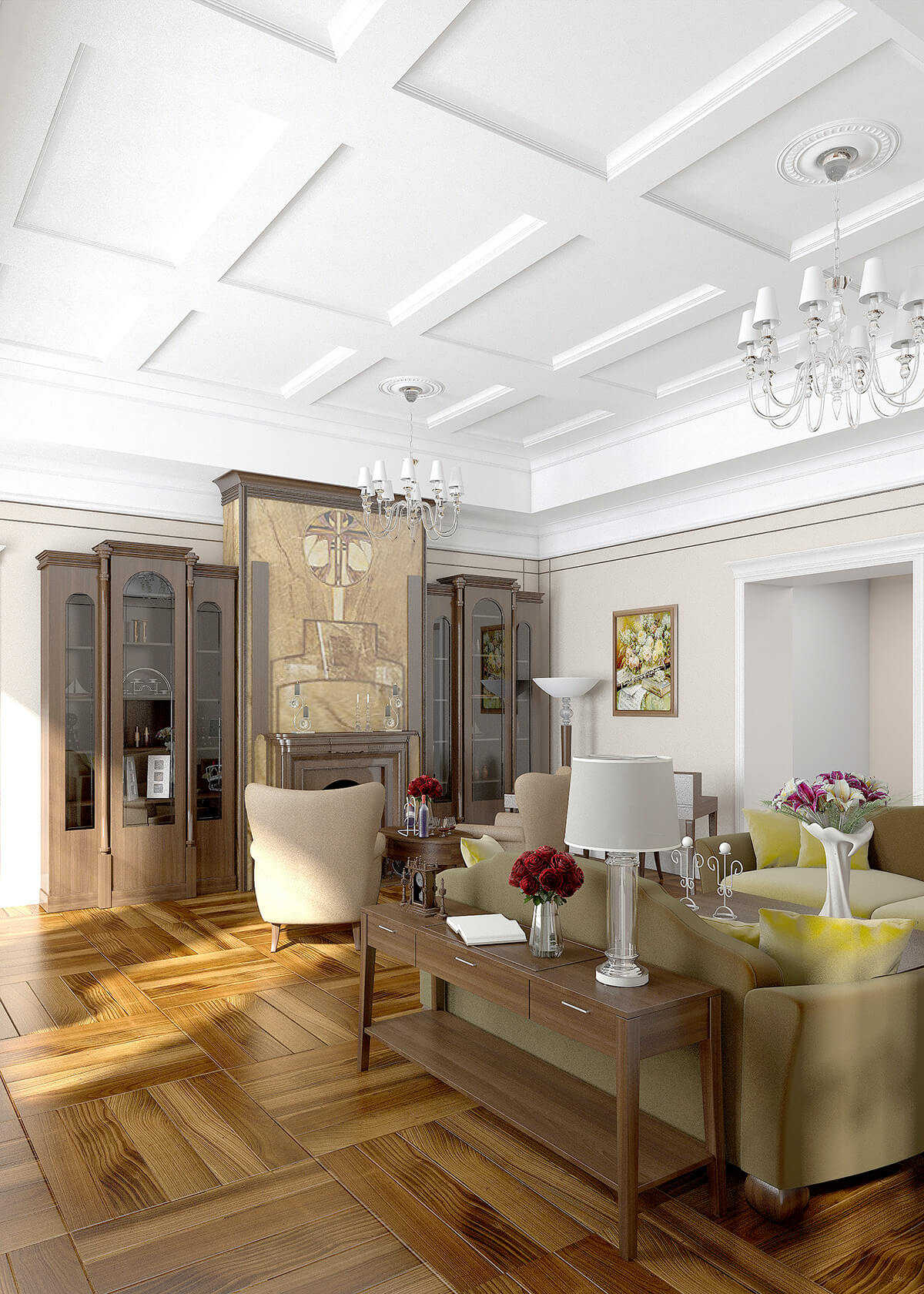 3D visualisation of a front room of the luxury house in Art deco style. London, UK.