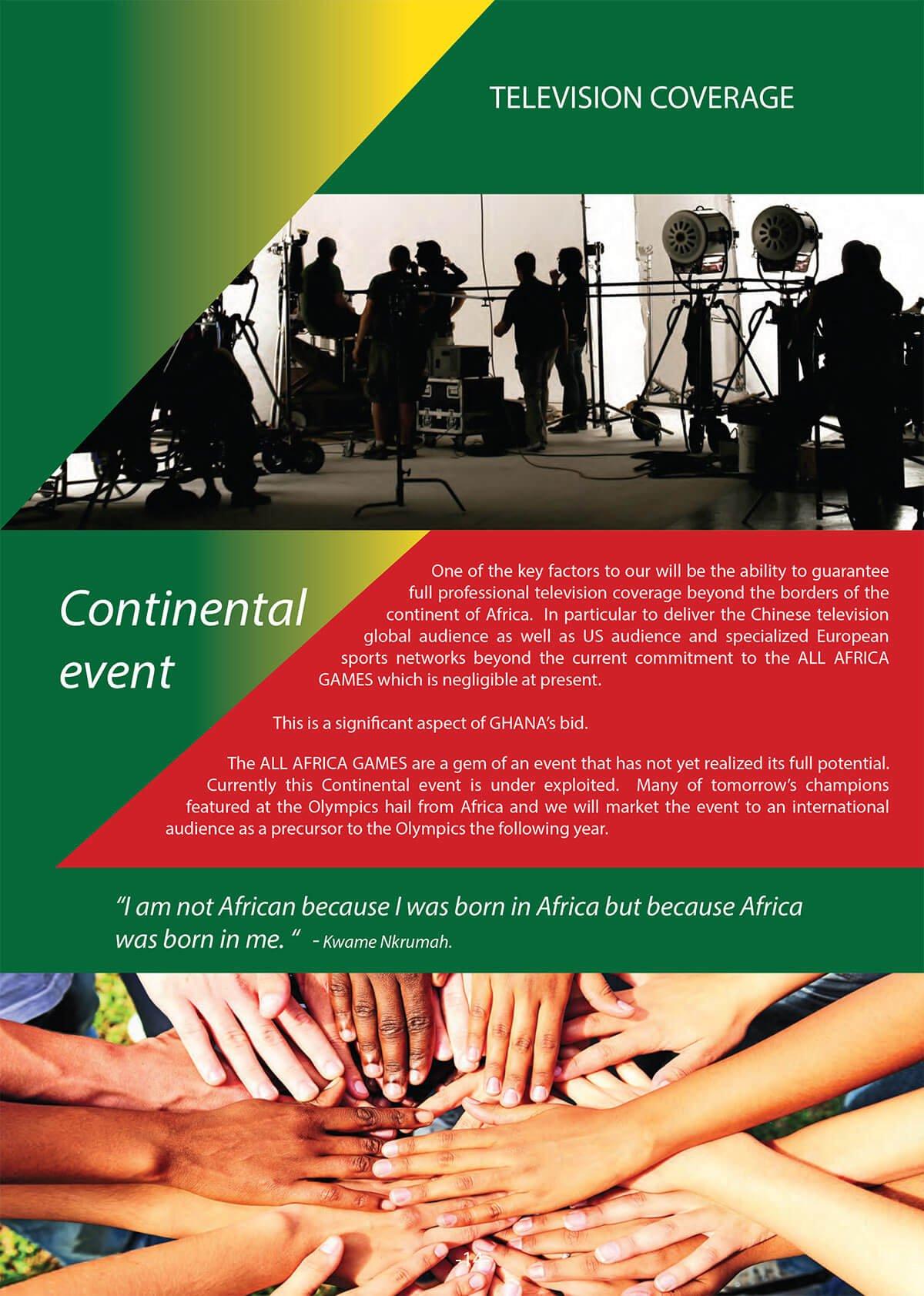 Corporate design for All Africa Games in Ghana, brochure design, London, UK.
