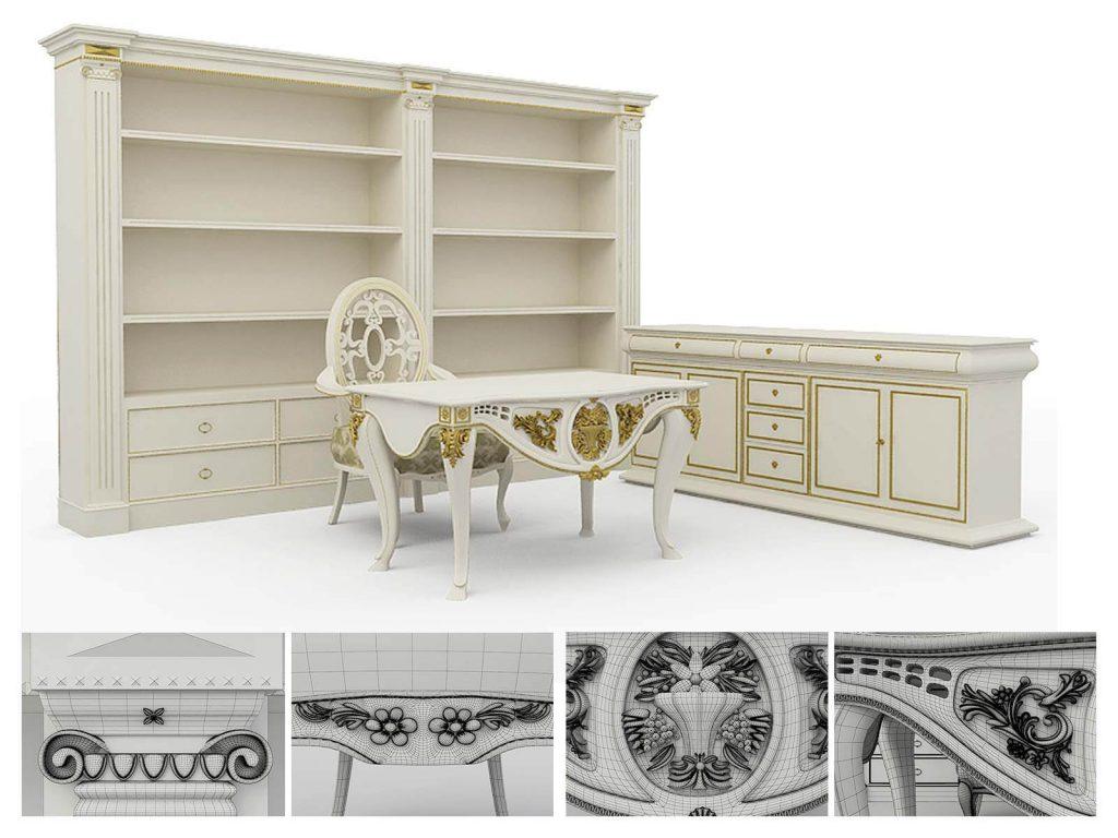 3D modeling of classic furniture, 3d visualization, London, UK.