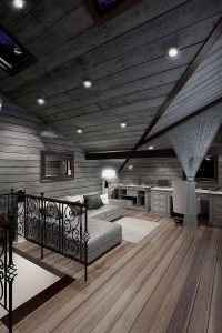 3D  visualisation of the loft area in a rustic wooden style, London, UK.