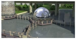 3D  commercial visualisation of the cafe on the water next to London wall, London, UK.