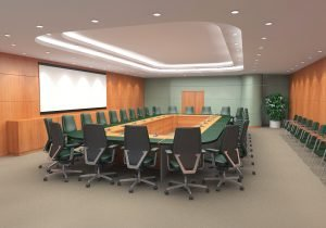 3D  commercial visualisation of a conference hall, London, UK.