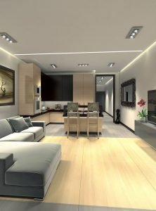 3D  visualisation of kitchen, dinning room and front room, London, UK.